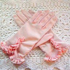 Vintage 1960's PINK RUFFLED GLOVES Ladies by graymountainvintage, $8.50