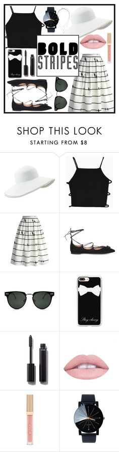 """Stripes"" by azealya ❤ liked on Polyvore featuring Eric Javits, Chicwish, Salvatore Ferragamo, Spitfire, Casetify, Chanel, Stila and Banana Republic"