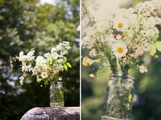 wildflowers and babys breath in mason jars- so simple and lovely
