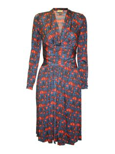 Ladies Issa navy and red patterned silk jersey dress