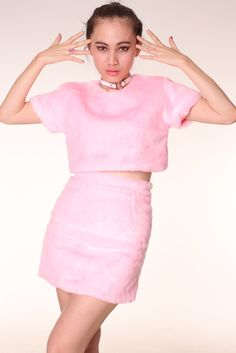 Image of Pre Order - Gigi Furry 2 Piece Set in Baby Pink