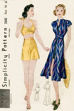 1930s 1940s vintage sewing pattern crop halter top shorts & sun dress bust 32 b32 reproduction