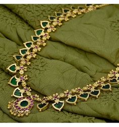 This beautiful one gram gold Green Palakka Long mala is traditional and ethnic South Indian, Kerala bridal Jewellery. Temple, Dance and Marriage wear Gold Jewelry For Sale, Buy Gold Jewellery Online, Mens Gold Jewelry, Gold Wedding Jewelry, Gold Jewellery Design, Bridal Jewelry, Bridesmaid Jewelry, Diamond Jewelry, Bridesmaids