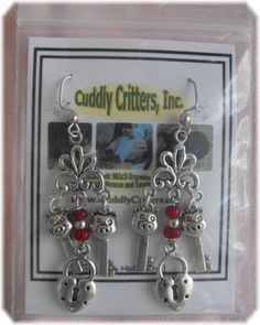 Tibetan Silver Pig Key and Lock Dangle Earrings Made in the USA #Handmade #DropDangle