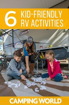 Taking little ones on your next RV road trip or camp out? Whether you're a parent taking your kids on their first adventure, or grandparents with camping grandbabies, RVing with kids can be unpredictable. You never know how much entertaining you'll have to do at the campsite. Here's a list of kid-friendly RV and camping activities sure to please every kid out there. #familycamping #familytravel #rvlife#rvcampers #rvliving #camper #camping #campertrailers #camperlife #happycamper