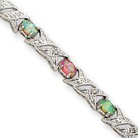 Sterling Silver Created Colored Created Opal and Diamond Bracelet - 7 Inch - Box Clasp - JewelryWeb JewelryWeb. $93.30. Save 50%!