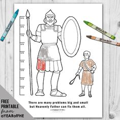 A Year of FHE // a free coloring page for small children showing the difference in height between David and Goliath along with the scripture story reference. #lds #goliath #david
