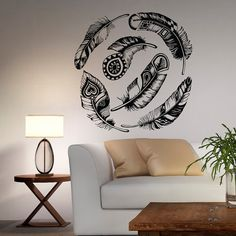 Feather Wall Decal Vinyl Sticker Dream Catcher Tribal Decor Boho Wall Art Feathers Decals For Bedroom Living Room Dorm Bohemian Fashion