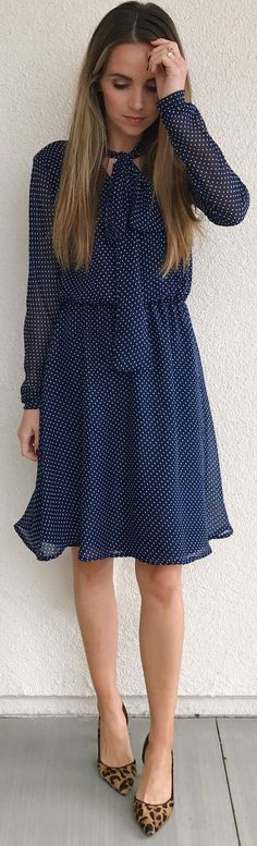 #cute #outfits  Navy Dotted Dress / Leopard Pumps