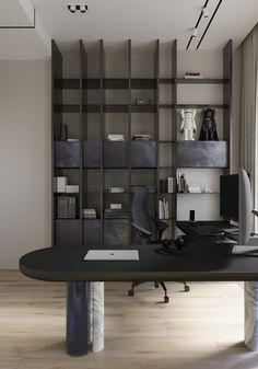 MOPS / LL on Behance Office Table Design, Modern Office Design, Office Decor, Office Workspace, Showroom Interior Design, Luxury Interior Design, Modern Interior, Kempinski Hotel, Study Room Design