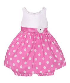 Look what I found on #zulily! Pink & White Polka Dot Dress & Bloomers - Infant #zulilyfinds