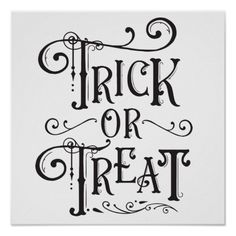 Trick or Treat Vintage Typography Type Halloween Poster | Zazzle.com
