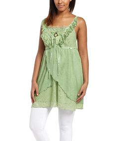 Look what I found on #zulily! Green Lace Linen-Blend Sleeveless Top by Pretty Angel #zulilyfinds
