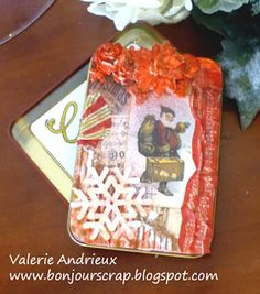 Altered tin : a gift card box #Christmas #mixmedia #gift #alteredtin #7Gypsies #CanvasCorp #TatteredAngels