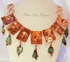 Hammered Copper Necklace with Mexican Turquoise by cherbear71,