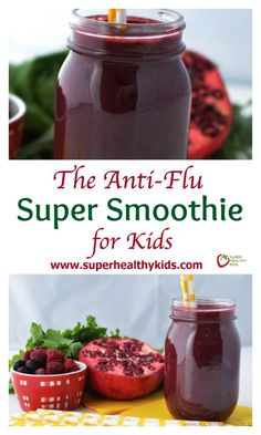 The 4 ingredients in this super food smoothie are the backbone of a healthy immune system! The Anti-Flu Super Smoothie for Kids. Our immune boosting daily vitamin! Smoothie Drinks, Smoothie Recipes, Juicer Recipes, Detox Drinks, Healthy Snacks, Healthy Recipes, Healthy Smoothies For Kids, Super Healthy Kids, Healthy Eating For Kids