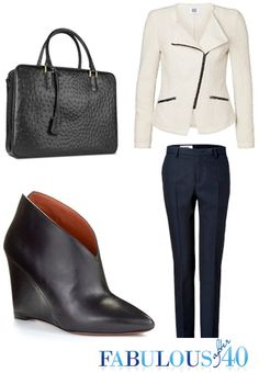 A wedge bootie will add weight to an outfit and work well with fabrics that are heavier, textured or patterned.