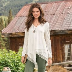"""SOUL IN MOTION TOP--Let your free spirit soar in our easy, asymmetrical 3/4 sleeve top with layers of mesh and Swiss dot accents. Easy, forgiving silhouette. Raw-edge accents. Cotton. Machine wash. Imported. Exclusive. Sizes XS (2), S (4 to 6), M (8 to 10), L (12 to 14), XL (16). Approx. 31-3/4""""L."""