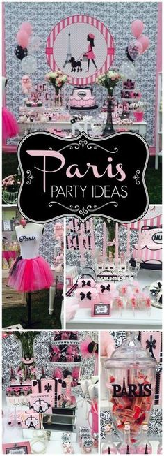 You have to see this pink and black glam Paris party! See more party ideas at CatchMyParty.com!