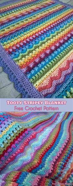 Crochet afghans 467881848781910793 - Tooty Stripey Baby Blanket Free Crochet Pattern Source by Diy Crochet, Crochet Crafts, Crochet Projects, Crochet Ideas, Simple Crochet, Diy Projects, Afghan Crochet Patterns, Knitting Patterns, Crochet Afghans