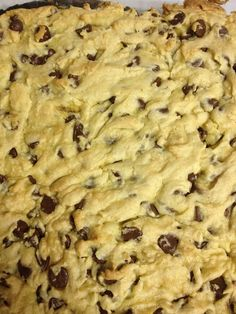 Easy cookie cake -  1 box yellow cake, 2 eggs, 5T melted butter, 2c chips, 350 for 20 min  To make vegan: use Kirsten eggs, flax seed oil Smart Balance, and Amish store chocolate chips.