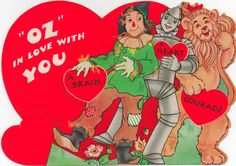 2 WIZARD OF OZ Antique Loews OIL TIN MAN  Valentine Card WOW