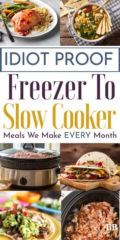 These easy freezer crockpot meals let you make ahead healthy chicken and beef recipes that you can just dump and go in your crockpot or slow cooker. These are my favorite freezer meals for new moms, a Freezable Meals, Freezer Chicken, Freezer Friendly Meals, Slow Cooker Freezer Meals, Make Ahead Freezer Meals, Slow Cooker Recipes, Dump Crockpot Meals, Kid Meals, New Mom Meals