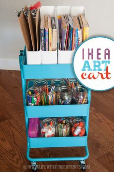 Ikea Art Cart Ikea Hack: Turn an Ikea rolling cart into a kids art cart to hold all their craft supplies Ikea Cart, Ikea Trolley, Ikea Raskog Cart, Home Decoracion, Art Cart, Toy Rooms, Craft Organization, Bedroom Organization, Organizing Crayons