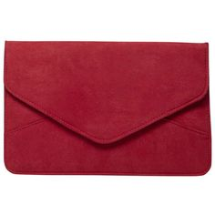 Dorothy Perkins Berry Suedette Clutch Bag ($17) ❤ liked on Polyvore featuring bags, handbags, clutches, red, red clutches, dorothy perkins, red purse and red handbags