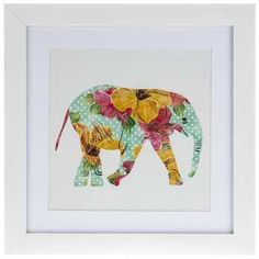 Guest Bedroom Wall Art (Hobby Lobby) - Floral Elephant Framed Art