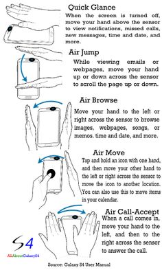 Air Gesture:control phone functions without touching the screen! In this page, how to use air gestures in galaxy is explained.air move, and air call-accept are all covered. Samsung Hacks, Phone Hacks, Galaxy Smartphone, Samsung Galaxy S4, New Phones, Smart Phones, Tech Gadgets, User Interface, Cell Phone Cases