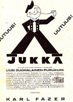 Mainos: Fazerin Jukka-purukumi/1931 Retro Ads, Vintage Ads, Good Old Times, Ancient History, Finland, Nostalgia, Advertising, School, Design