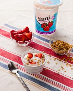 Strawberry yogurt + fresh berries + granola  = 1 satisfying snack.