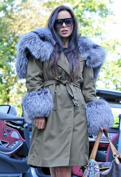 MILITARY TRENCH FUR COAT. WITH SILVER FOX FUR. Coat has fur also inside. FANTASTIC FUR. Military coats are always in fashion. - now combined with fur are. A beautiful hood, which. PERFECT COAT FOR MODERN WOMEN LIVING IN THE CITY. | eBay!