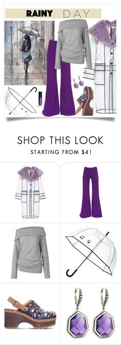 """""""Splish Splash: Rainy Day Style"""" by freida-adams ❤ liked on Polyvore featuring Miu Miu, Gareth Pugh, Care By Me, Kate Spade, See by Chloé, ShoeDazzle and Stephen Dweck"""