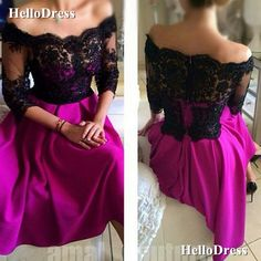 Evening+Dress+Off+Shoulder+3/4+Sleeves+Formal+Dress+Party+Dress If+you+wanna+make+some+change,+pls+feel+free+to+contact+us.  Fabric:+Lace,Satin Embellishments:+ Hemline:+Tea+Length Back+Details:+Zipper Shown+Color:+As+Picture Available+Color:+As+Picture+or+Custom+Color(pls+leave+the+color...