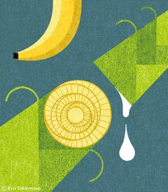 Banana Recycling Spot illustration for Monocle magazine, issue Spot Illustration, Illustration Artists, Food Illustrations, Graphic Design Illustration, 60s Wallpaper, Ryo Takemasa, Monocle Magazine, Visual Communication, Japanese Art