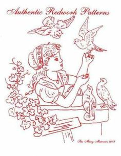 CD 30 Vintage Antique Redwork Hand Embroidery Designs