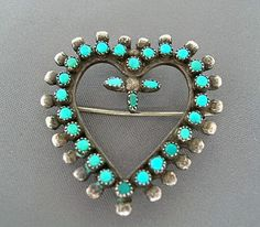 Brooch/Pendant | Designer ? (Zuni). Silver and turquoise.  ca 1950s.