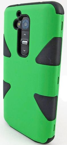 myLife Envy Green/Black {Dual-Colored Hard Shell Design} 3 Piece Neo Hybrid Case for the for the LG G2 Smartphone (External Rubberized Snap ...