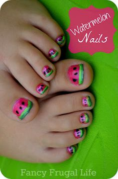 DIY Watermelon Nails (Mani/Pedi)    There's probably lots of ways to do this but here's what I used.  pink or red nail polish  light green nail striper (has a really long brush..found at beauty supply)  dark green nail striper  black nail polish  dotting tool or toothpick/bobby pin