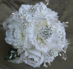 Brooch Wedding Bouquet / Gorgeous White by ZuDunsFlowersnGifts, $175.00