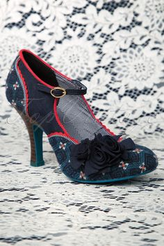 Ruby Shoo - 50s Ashley Ankle Strap Pumps in Blue