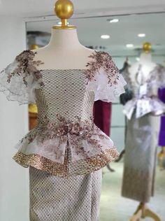 Simple Dresses, Elegant Dresses, Pretty Dresses, Myanmar Traditional Dress, Traditional Dresses, Latest African Fashion Dresses, Women's Fashion Dresses, Batik Dress, Silk Dress