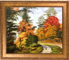 Overstock Art Autumn Tints Near Niagara by Marianne North (Framed Canvas)