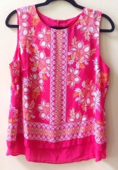 NWT ROSE & OLIVE WOMEN'S MULTI-COLOR 100% POLYESTER SLEEVELESS BLOUSE SIZE L #RoseOlive #Blouse