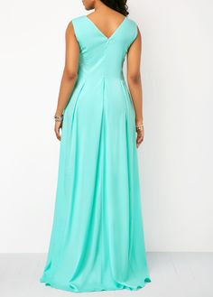 Sleeveless V Back Mint Green Jumpsuit - Trend Way Dress Leggings Fashion, Fashion Pants, Fashion Dresses, Kurti Designs Party Wear, Mode Hijab, Indian Designer Wear, Mint Green, Beautiful Outfits, New Dress