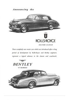 History of Vessels Travel Ads Advertising & Travel at the Beginning of the Century. Old Advertisements, Car Advertising, Vintage Ads, Vintage Posters, Classic Rolls Royce, Bentley Rolls Royce, Rolls Royce Silver Cloud, Rolls Royce Motor Cars, Travel Ads