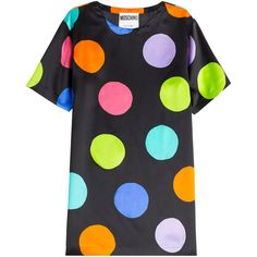 Moschino Printed Silk Dress (17.070 RUB) ❤ liked on Polyvore featuring dresses, tops, dots, round neck dress, black polka dot dress, multicolor dress, colorful dresses and multi colored dress