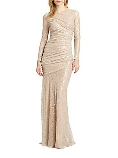 Mother of bride. Carmen Marc Valvo Sequined Lace Gown